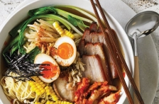 Ramen Noodle Soup with Soy Sauce Eggs, Pork & Mushrooms